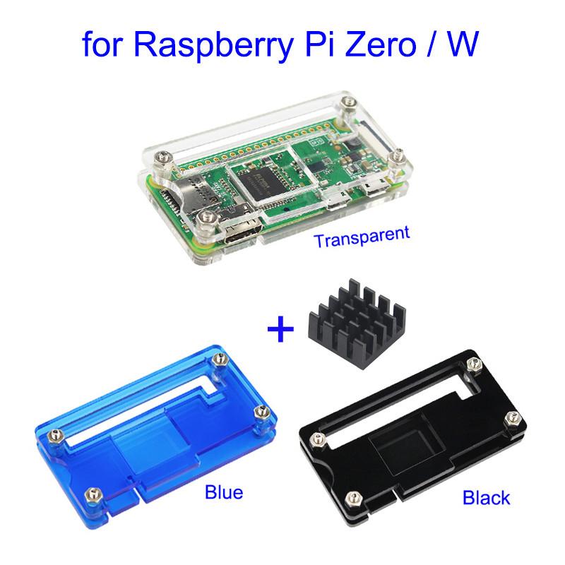 Acrylic case for Raspberry Pi Zero and Zero W Transparent Black w// Heat sink